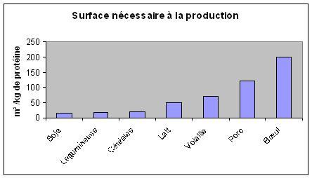 Surface nécessaire à la production alimentaire de protéine : comparaison viandes et céréales